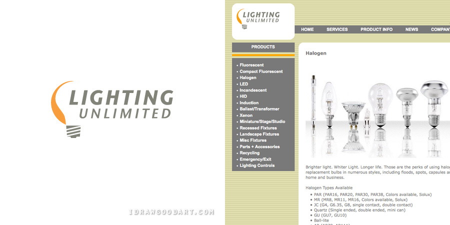 Attractive ... Lighting Unlimited Logo And Website (Code By Adam Gross) ...